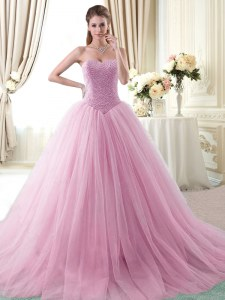 With Train Ball Gowns Sleeveless Rose Pink 15th Birthday Dress Brush Train Lace Up