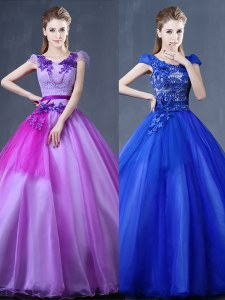 New Style Short Sleeves Lace Up Floor Length Lace and Appliques Quinceanera Gown
