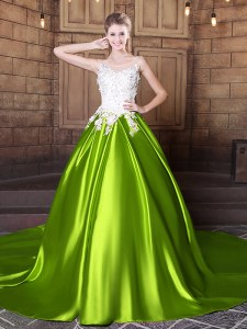 Pretty Scoop Yellow Green Lace Up 15 Quinceanera Dress Lace and Appliques Sleeveless With Train Court Train