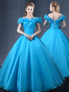 New Style Off the Shoulder Appliques Quince Ball Gowns Baby Blue Lace Up Cap Sleeves Floor Length