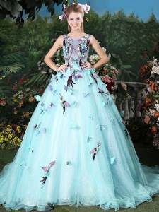 Scoop Sleeveless 15 Quinceanera Dress Brush Train Appliques Light Blue Organza