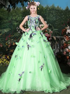 Vintage Apple Green Zipper Scoop Appliques Quinceanera Gown Organza Sleeveless Brush Train