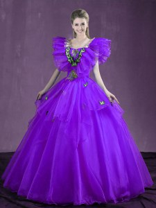 Organza Sweetheart Sleeveless Lace Up Appliques and Ruffles Sweet 16 Quinceanera Dress in Purple