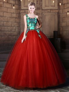 One Shoulder Floor Length Rust Red Sweet 16 Dress Tulle Sleeveless Pattern