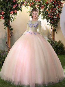 Peach Tulle Lace Up Scoop Long Sleeves Floor Length Sweet 16 Dresses Appliques