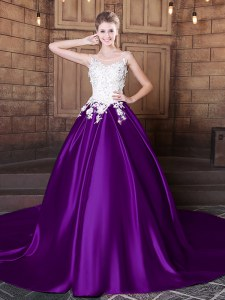 Custom Fit Purple Ball Gown Prom Dress Military Ball and Sweet 16 and Quinceanera and For with Lace and Appliques Scoop Sleeveless Court Train Lace Up
