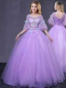 Dramatic Scoop Lavender Half Sleeves Tulle Lace Up Vestidos de Quinceanera for Military Ball and Sweet 16 and Quinceanera