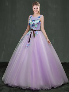 Lavender Ball Gowns Organza Scoop Sleeveless Appliques Floor Length Lace Up Sweet 16 Quinceanera Dress