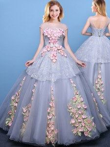 Flirting Scoop Cap Sleeves Quinceanera Gowns Floor Length Appliques Grey Tulle