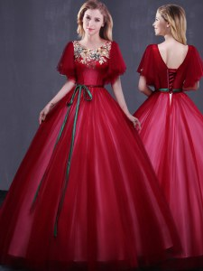 Scoop Wine Red Short Sleeves Floor Length Appliques and Belt Lace Up Quinceanera Dress