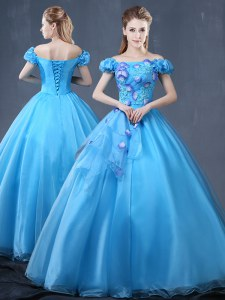 Gorgeous Off the Shoulder Floor Length Baby Blue 15 Quinceanera Dress Organza Short Sleeves Appliques