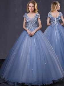 Flare Lavender Quinceanera Gown Military Ball and Sweet 16 and Quinceanera and For with Appliques Scoop Short Sleeves Lace Up