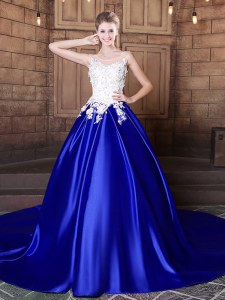 Clearance Scoop Elastic Woven Satin Sleeveless With Train Quinceanera Gowns Court Train and Appliques