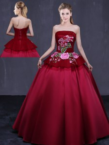 Charming Wine Red Satin Lace Up Quince Ball Gowns Sleeveless Floor Length Embroidery