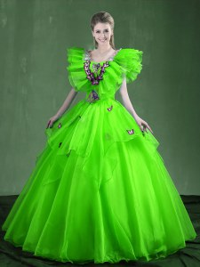 Wonderful Ball Gowns Organza Sweetheart Sleeveless Appliques and Ruffles Floor Length Lace Up Sweet 16 Dresses