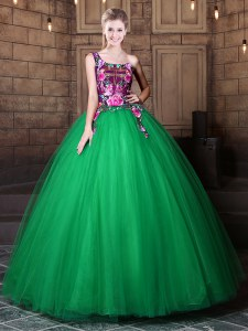 Dazzling Floor Length Green Sweet 16 Dress One Shoulder Sleeveless Lace Up