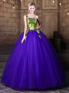 Wonderful One Shoulder Sleeveless Tulle Ball Gown Prom Dress Pattern Lace Up