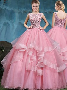 Latest Scoop Sleeveless Lace and Appliques and Ruffles Lace Up Sweet 16 Dress
