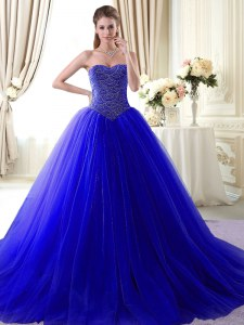 With Train Ball Gowns Sleeveless Royal Blue Quince Ball Gowns Brush Train Lace Up