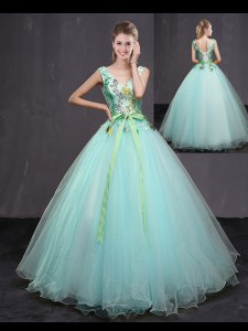 Pretty Floor Length Aqua Blue Quinceanera Dress V-neck Sleeveless Lace Up