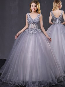 Tulle Sleeveless Lace Up Appliques Sweet 16 Dress in Grey