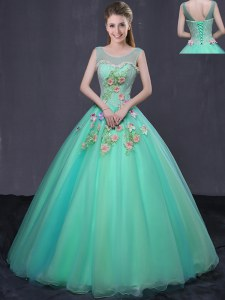 Organza Scoop Sleeveless Lace Up Beading and Appliques Quinceanera Gown in Turquoise