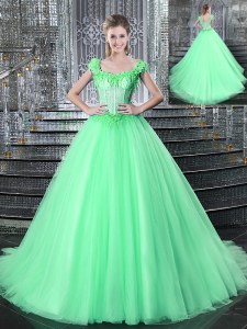Eye-catching Straps Sleeveless Vestidos de Quinceanera With Brush Train Beading and Appliques Apple Green Tulle