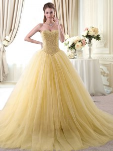 Amazing Sleeveless Tulle Floor Length Lace Up Ball Gown Prom Dress in Gold with Beading
