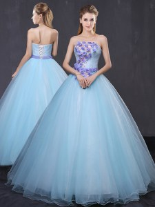 Exceptional Strapless Sleeveless Lace Up 15th Birthday Dress Light Blue Tulle