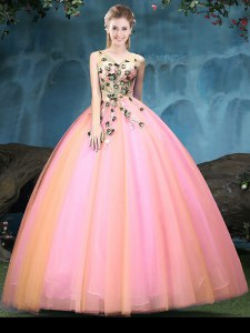 Discount Multi-color Sleeveless Tulle Lace Up Sweet 16 Dresses for Military Ball and Sweet 16 and Quinceanera