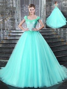 Straps Tulle Sleeveless With Train Quinceanera Gowns Brush Train and Beading and Appliques