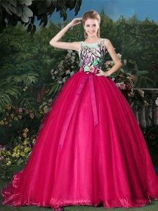 Brush Train Ball Gowns Quinceanera Dress Hot Pink Scoop Organza Sleeveless Zipper