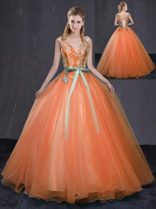 Delicate V-neck Sleeveless Lace Up Quinceanera Gowns Orange Tulle