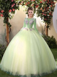 Sexy Scoop Floor Length Light Yellow Quinceanera Dress Tulle Long Sleeves Appliques