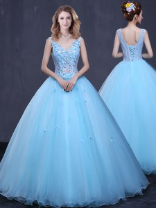 Inexpensive Floor Length Ball Gowns Sleeveless Light Blue 15th Birthday Dress Lace Up