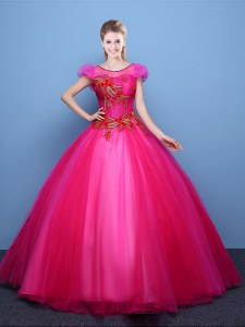 Scoop Appliques Ball Gown Prom Dress Hot Pink Lace Up Short Sleeves Floor Length