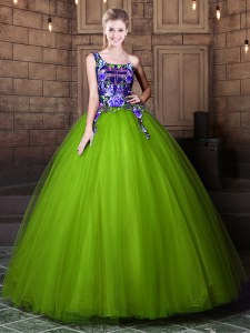One Shoulder Sleeveless Pattern Lace Up 15 Quinceanera Dress