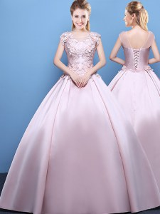 Best Selling Scoop Satin Cap Sleeves Floor Length 15 Quinceanera Dress and Appliques