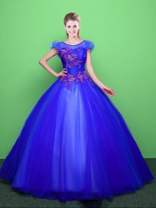 Trendy Blue Ball Gowns Tulle Scoop Short Sleeves Appliques Floor Length Lace Up Sweet 16 Dress