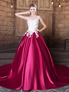 Scoop Lace and Appliques Vestidos de Quinceanera Hot Pink Lace Up Sleeveless Court Train