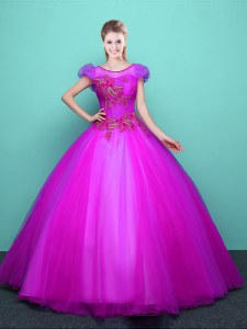 Discount Scoop Floor Length Ball Gowns Short Sleeves Fuchsia Vestidos de Quinceanera Lace Up