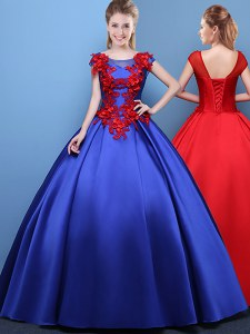 Scoop Royal Blue Cap Sleeves Satin Lace Up Vestidos de Quinceanera for Military Ball and Sweet 16 and Quinceanera