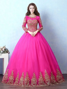 Scoop Fuchsia Lace Up 15 Quinceanera Dress Appliques Long Sleeves Floor Length