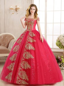 Sequins Off The Shoulder Sleeveless Lace Up Quinceanera Gowns Red Tulle