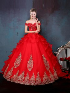 Decent Off the Shoulder Sleeveless Tulle Floor Length Lace Up Quinceanera Dress in Red with Beading and Appliques and Ruffles