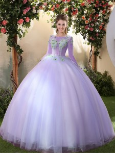 Latest Scoop 3 4 Length Sleeve Tulle Quinceanera Gown Appliques Lace Up