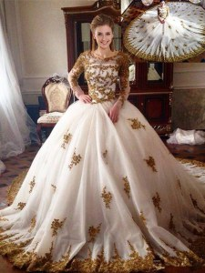 Tulle Scoop Long Sleeves Chapel Train Zipper Appliques Quinceanera Dress in White