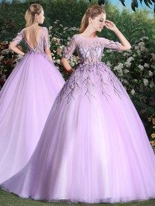 Fancy Scoop Short Sleeves With Train Appliques Backless Quinceanera Gown with Lilac Brush Train