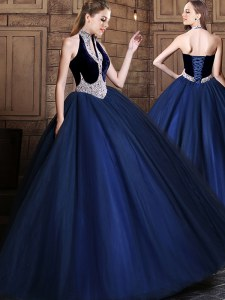 Elegant Halter Top Beading 15th Birthday Dress Navy Blue Lace Up Sleeveless Floor Length
