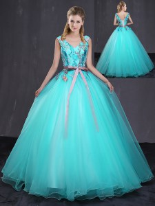 Aqua Blue V-neck Neckline Appliques and Belt 15th Birthday Dress Sleeveless Lace Up